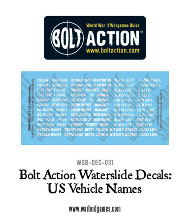 Bolt Action - US Vehicle Decals
